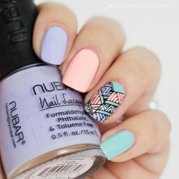 Minimalist tribal themed nail art in periwinkle, melon and sea green combination.