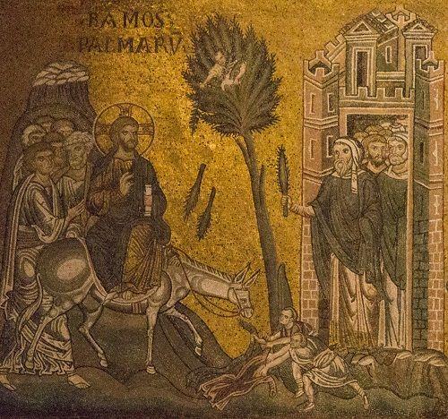 Adventti. Tuntematon tekijä, 1100-luku, Jeesus ratsastaa Jerusalemiin. Monrealen tuomiokirkon seinämosaiikkinen yksityiskohta. Monreale, Italia. Valokuva: Marco Peretto.