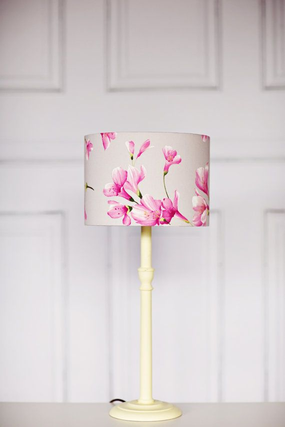 Floral Grey Lamp shade Pink Lampshade Floral by ShadowbrightLamps