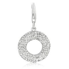 Sterling Silver Ring Charm with White Tone Crystal Accents