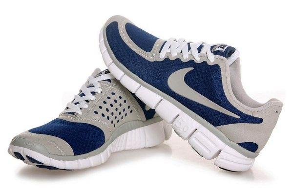 Fabriek Op De Verkoop Nike Free 5.0 V4 Heren Loopschoenen Grijs/Donker Blauw/Wit
