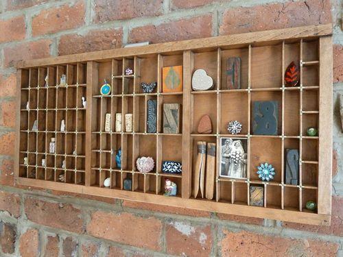 Vintage original wooden printers tray drawer letter press type case display   eBay