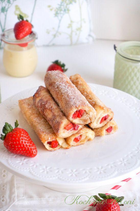 Arme Ritter Röllchen mit Erdbeeren - Strawberry French Toast Roll ups