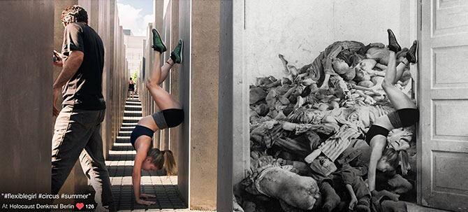 El polémico artista israelí Shahak Shapira ha observado en las RR.SS como cada vez son más irrespetuosas las fotografías que los turistas, la mayoría muy jóvenes, realizan en el Monumento del Holocausto de Berlín, parecen olvidar que ese monumento se erige para honrar la memoria de los miles y miles de judíos exterminados en campos de concentración en la Alemania nazi.  Shapira lanzó un revulsivo para poner un poco de sentido común entre los turistas, Yolocaust, recoge las fotografías…