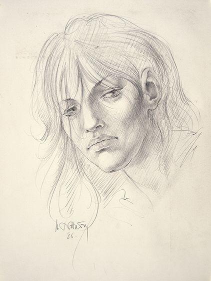 Marc Dautry, Portrait de Jeune fille, Crayon, non daté, 380 x 288mm.