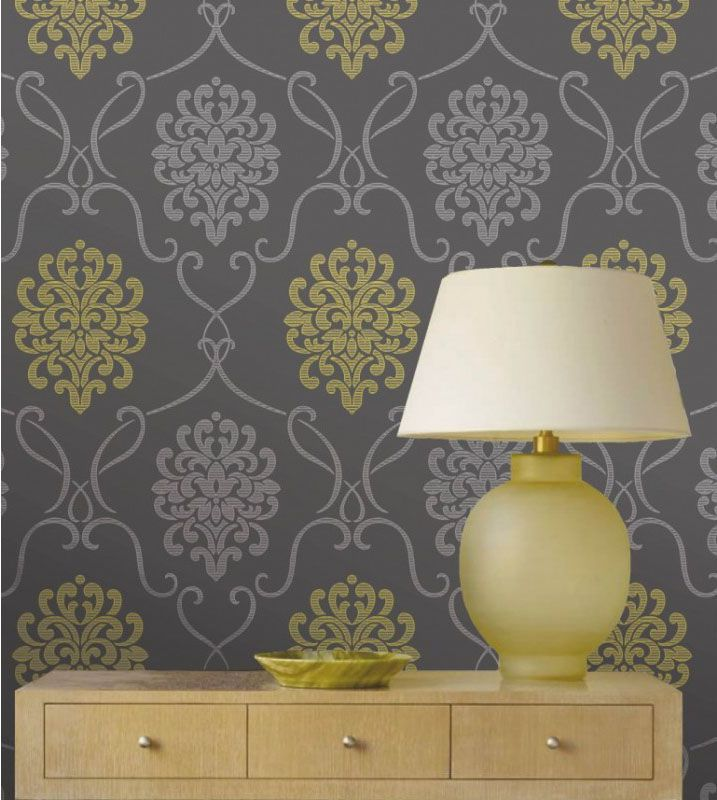 Pin by susan gilsdorf on for the home pinterest - Gray and yellow wallpaper ...