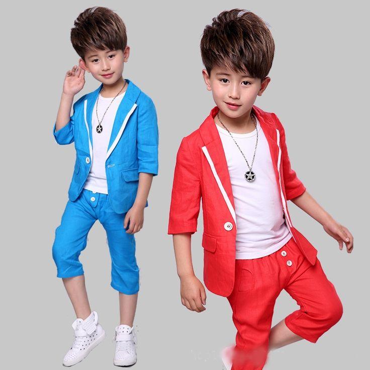 21.74$  Buy now - http://alia98.shopchina.info/1/go.php?t=32816243104 - Boy short sleeve suit 2017 summer new children's dress cotton linen suit three-piece suit boys suits for weddings  #bestbuy