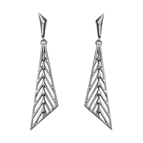 Geometric Leaves - Silver Earrings  #triangle #dangle #earrings #art #deco