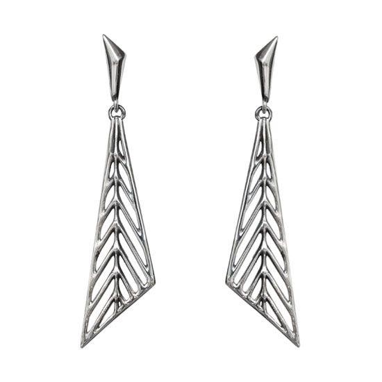 Geometric Leaves - Silver Earrings  #triangle #dangle #earrings #art #deco