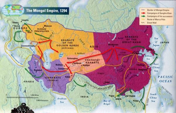 Mongol empire divided. Using this map - list out the different khanates.