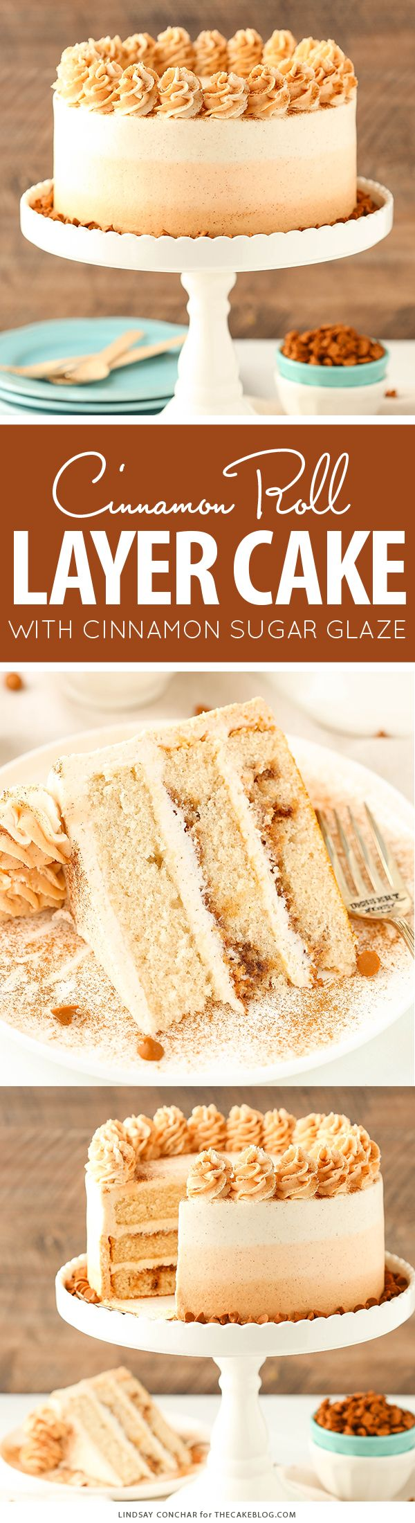 Cinnamon Roll Layer Cake - a recipe from the new cookbook Simply Beautiful Homemade Cakes by Lindsay Conchar | on TheCakeBlog.com