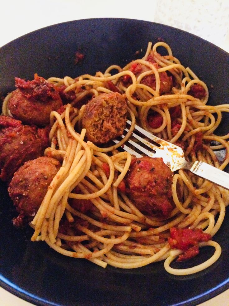 "Plant based ""meat""balls in spaghetti   So tasty!  #plantbased #food #homemade #natbensley @natbensley"