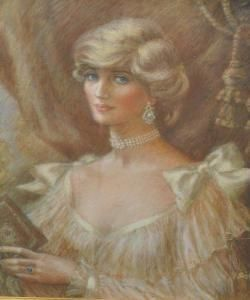"Portrait of Diana Frances Spencer ""Di"" (1961-1997) Princess of Wales, UK in Spencer jewels by Molly, Lady G. Scott Bishop. 1st wife to heir to UK Throne Prince Charles (Charles Philip Arthur George) (1948-living2013) Prince of Wales, UK. Diana is the 4th Child of Edward John ""Johnnie"" Spencer (1924-1992) 8th Earl Spencer UK & Frances Ruth Roche (Frances Ruth Spencer-Shand Kydd) (1936-2004) UK."