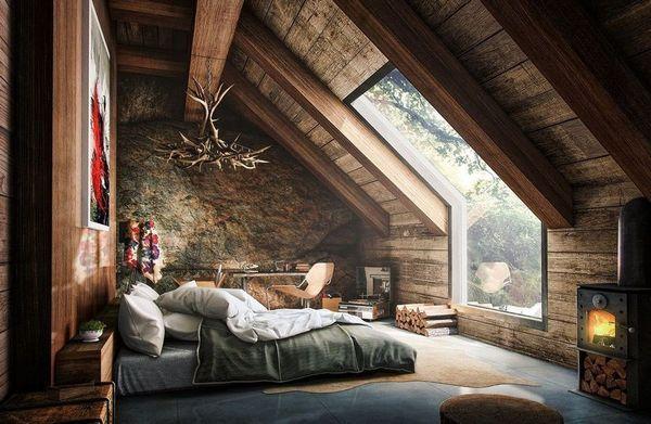 Dormitor rustic-modern