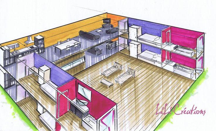 LOGEMENTS UNIVERSITAIRES Cette implantation de maison container a une surface d'environ 216m². Deux niveaux de trois containers arrangés en U accueillent deux chambres et leurs salles de bains individuelles, c'est idéal pour une collocation. Elle est...