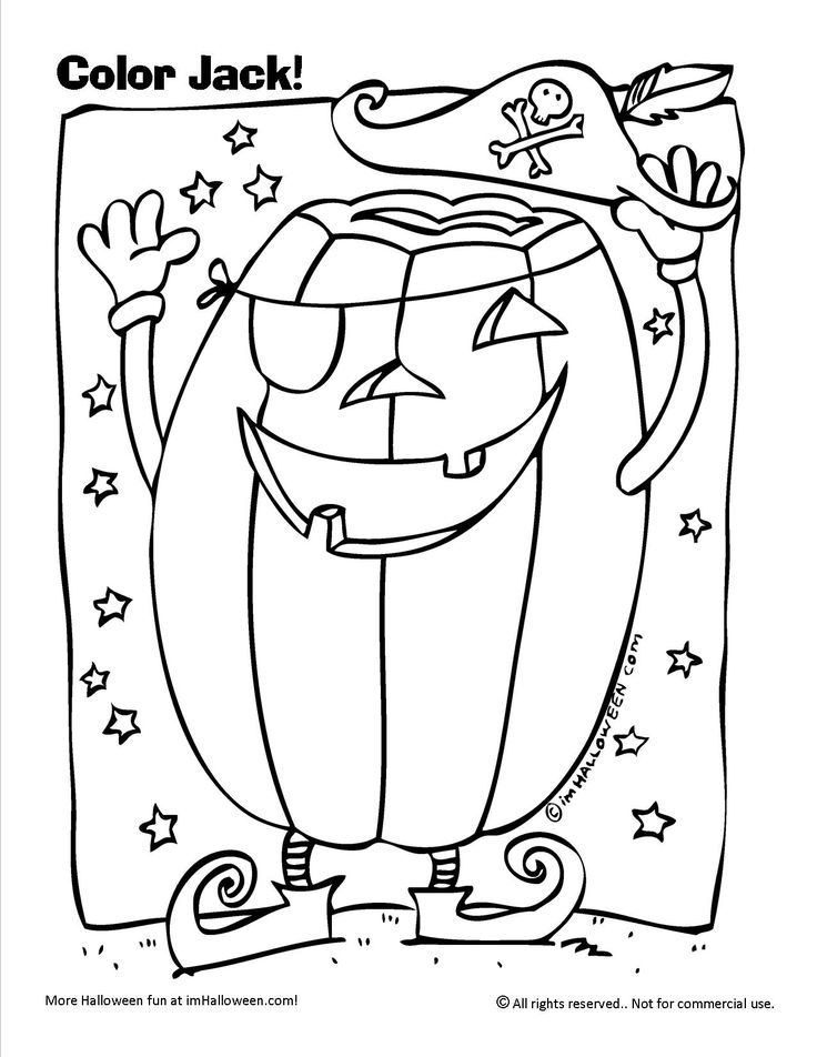 Halloween Jack The Pirate Coloring Page