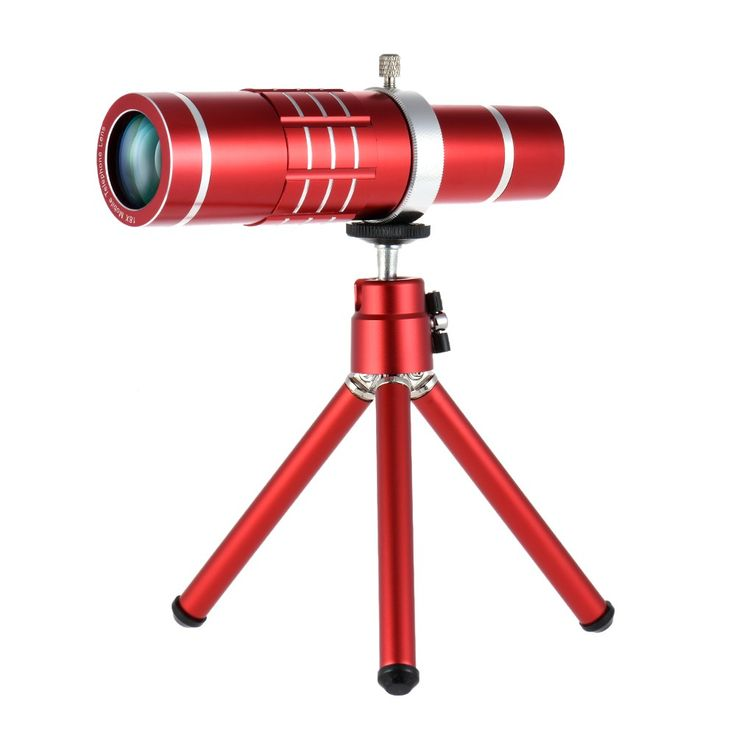 red Universal 18X Zoom Phone Telephoto Camera Lens with Mini Tripod - Tomtop.com