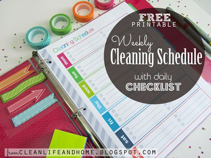 Free Printable: Weekly Cleaning Schedule and Daily Checklist Planner Page