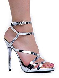 Women's Ankle Strap High Heel Sandals | Dress, Wedding, Party Heeled Shiny Pumps | Elegant, Comfortable & Strappy $36.50