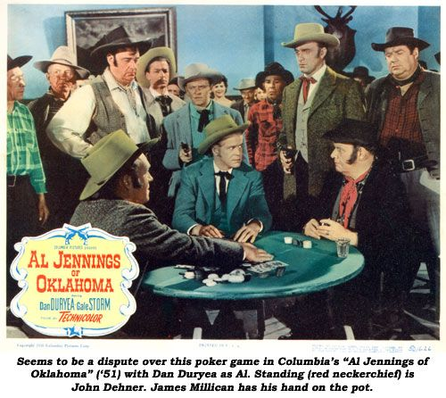 AL JENNINGS OF OKLAHOMA (1951) - Dan Duryea (pictured) - Gale Storm - Andy Devine (standing) - Dick Foran - John Millican (seated) - Directed by - Columbia Pictures - Lobby Card.