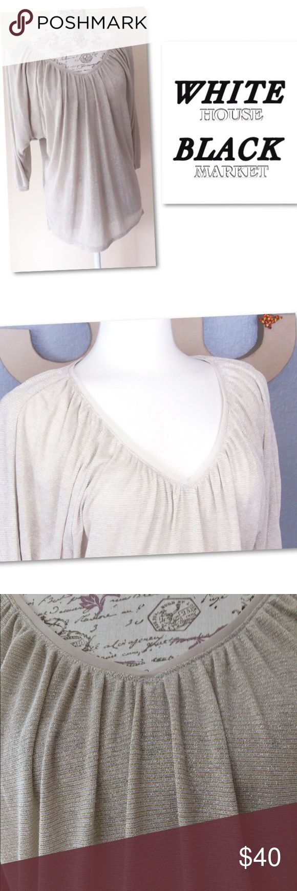 WHBM Gold Batwing Sleeve Drape Shimmery Blouse M Cream beige color. Metallic gold and silver  shimmery coloring add an elegant lion to the tops style. No flaws. Stretchy and loose  drape style fit. M White House Black Market Tops Blouses