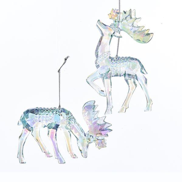Icy Blue Moose Acrylic Ornaments, 2 Assorted | KURT S. ADLER