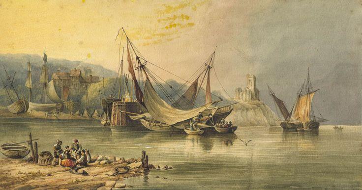 Manner of Clarkson Stanfield - Coastal Scene, 19th Century Watercolour