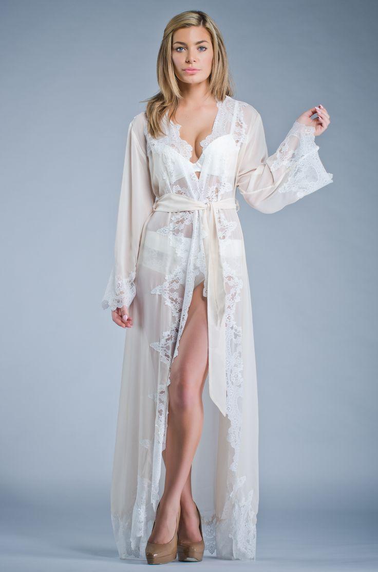 Homebodii Suzanne Long Ivory Lace Robe Homebodii Bridal