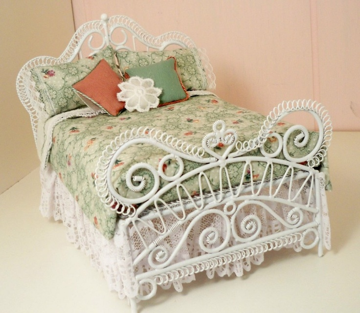Dollhouse Miniature White Wicker Aqua Double Bed By Minieoriginals White Cottage Bedroom Furniture Wicker Bedroom Furniture White Wicker Bedroom Sets