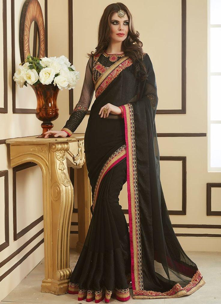 Shop Online Black Georgette #DesignerSarees @Chennaistore.com