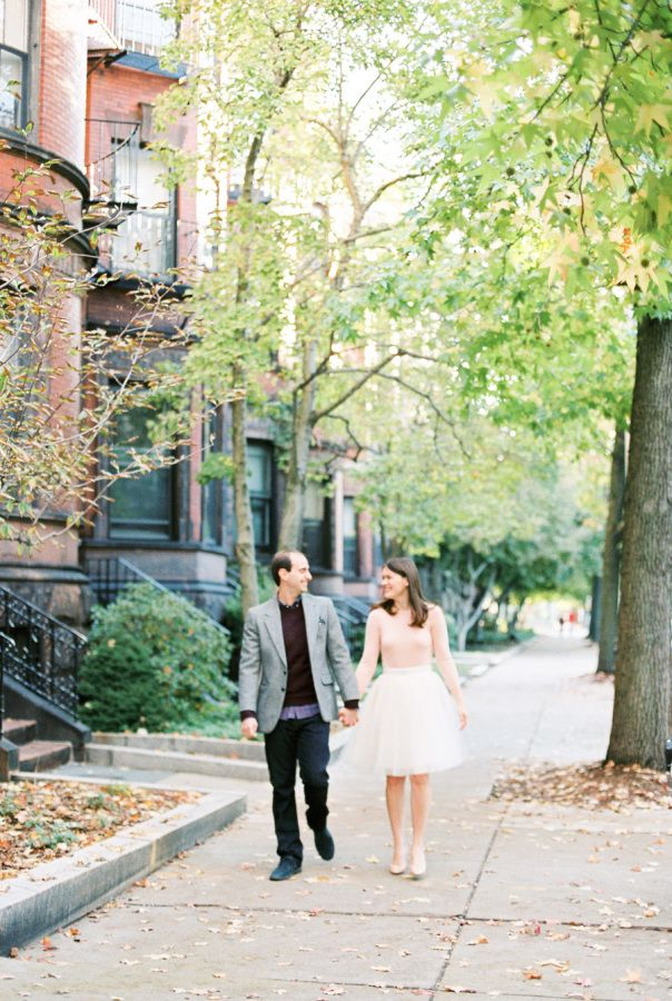 This darling duo took to the streets of downtown Boston near their home for this engagement session, and couldn't possibly look any more in love. Can you tell we're also totally smitten with the beautiful Bride-to-be'sadorabletulle ballerina skirt?! Check out