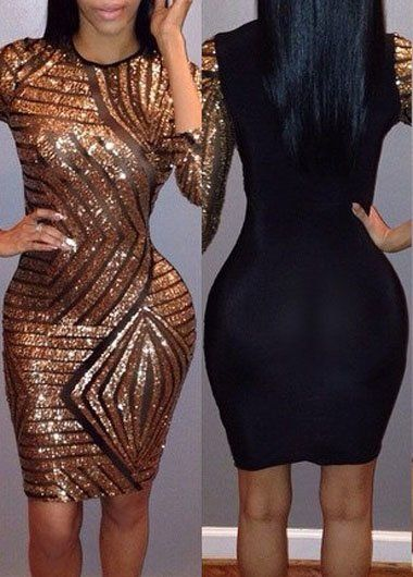 black and gold bodycon dress | Women clothing sexy trendy urban stylish going out