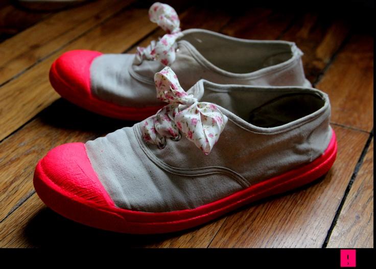 DIY- Un second look - « Place Colette: Diy Néon Shoes, Crafts Ideas, Diy Rentr, Places Colette, Crafts Projects, Diy Bensimon, Diynéon Shoes, De Tennis, Bensimon Fluo