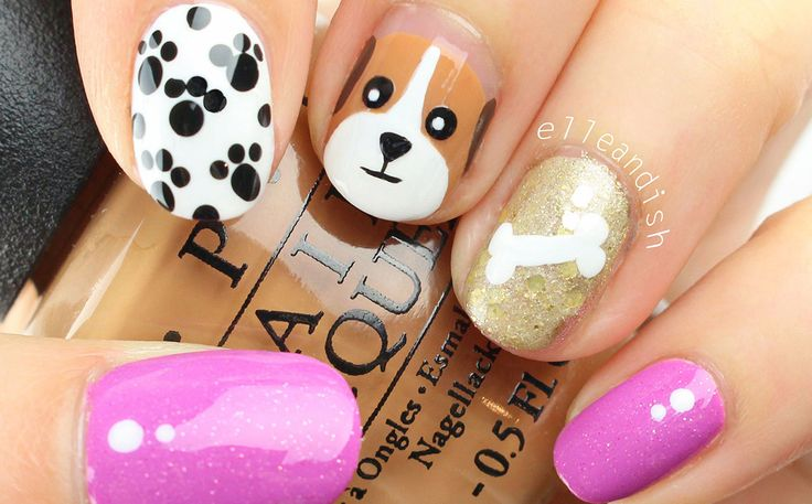Uñas decoradas con perritos - Puppy dog Nail art - http://xn--decorandouas-jhb.net/unas-decoradas-con-perritos/