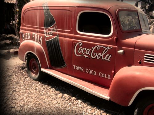 "Coca-cola  AWESOME SO VERY AWESOME! My dad drove a ""panel truck"" very like this when I was a kid. We'd ride the running boards from the corner to our house. Those were the days!"