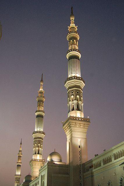 Minarets at sunrise at Al-Masjid al-Nabawi, Medina, Saudi Arabia (The mosque of the Prophet) by Omar A., via Flickr