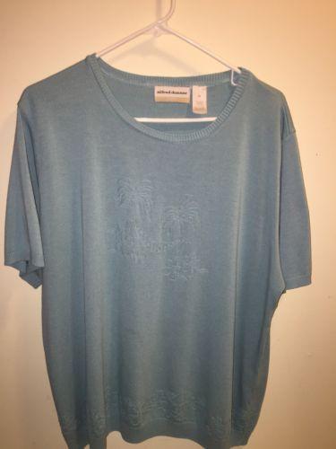 0737f85d1fd Alfred-Dunner-Knit-Top-Women-039-s-Short-Sleeve-Lt-Blue-Sweater-Plus ...