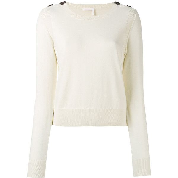 See By Chloé applique detail sweater (£185) ❤ liked on Polyvore featuring tops, sweaters, ivory, winter white sweater, white sweater, long sleeve tops, round neck sweater and cream long sleeve top