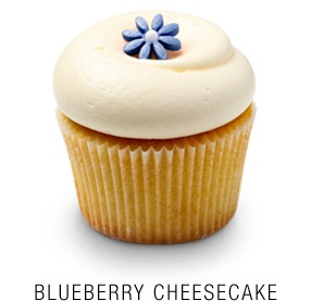 Fresh blueberry and mascarpone cheese cupcake topped with a vanilla icing and a blue fondant flower (no recipe)