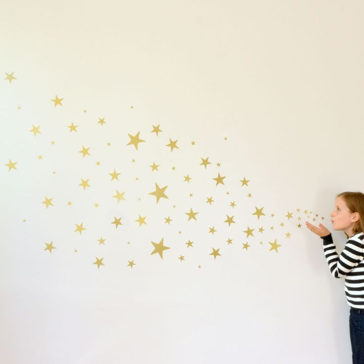 A sheet of 100 stars, in assorted sizes from 2cm up to 12cm. These look stunning in any room, in any colour. Arrange them in any way you wish upon a star! #removable #wall #sticker