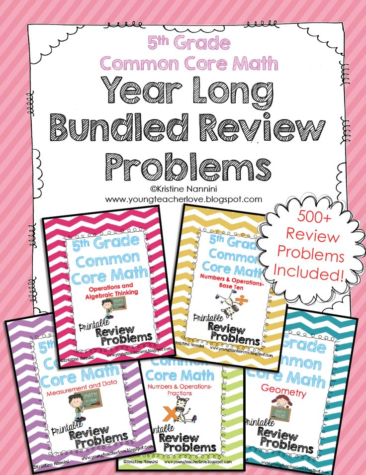 5th Grade Common Core Math Year Long Review! Over 500+ math review problems for the ENTIRE YEAR!! Perfect for spiral review, homework, morning work, centers, and more!$