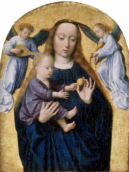 Painting by by Gerard David, ca. 1500, The Madonna and Child with Two Music-Making Angels, Oil on oak panel. iL