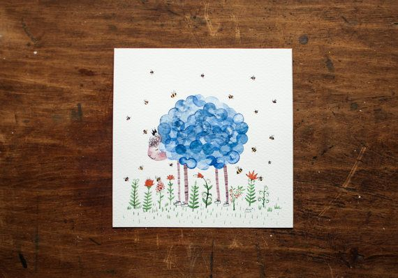 Cloud sheep blue red bees Original Watercolor by NORAillustration