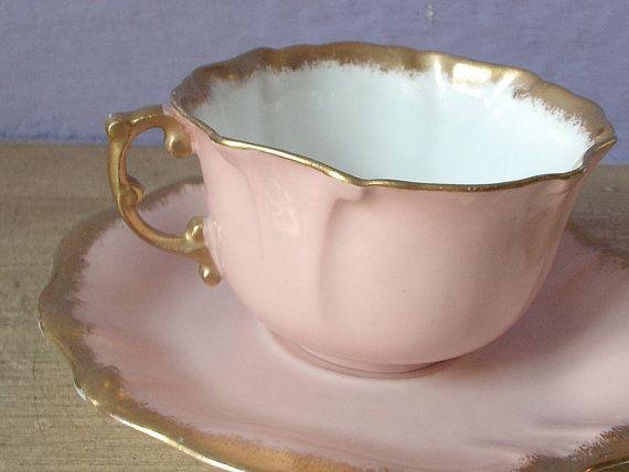 Antique English tea cup and saucer, vintage Hammersley china pink and gold tea cup and saucer, Victorian style tea set via Etsy
