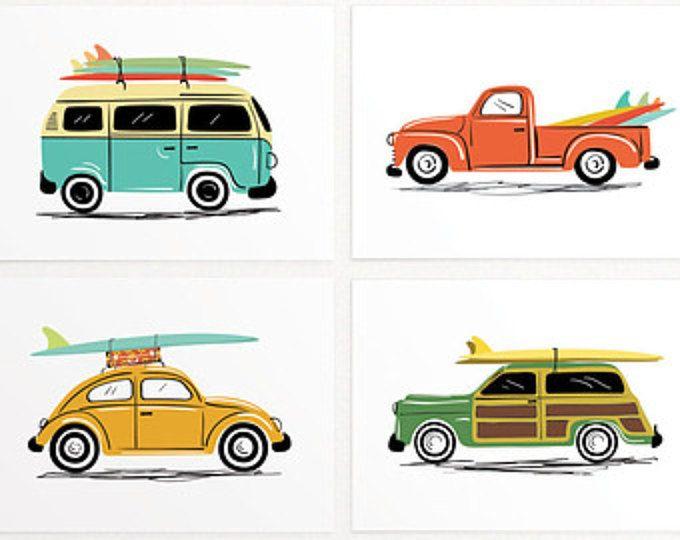 Schattig oldtimers kunst instellen. Met vier oldtimers illustraties die de vibe van elk van de autos vangen zijn. Road trip op een VW kever, Surf reis op een VW-Bus, toert de Californische kust op een vintage Corvette, en een bezoek aan de kwekerij met uw hond op een vintage pick-up. Originele illustraties door Lucy houdt van papier. Digitaal geprint. Vervaardigd in de Verenigde Staten. • Set van 4 prints • Afmeting: 7 x 5 inches of 10 x 8 inch • INKT: hoge dichtheid archivering pigmenten…
