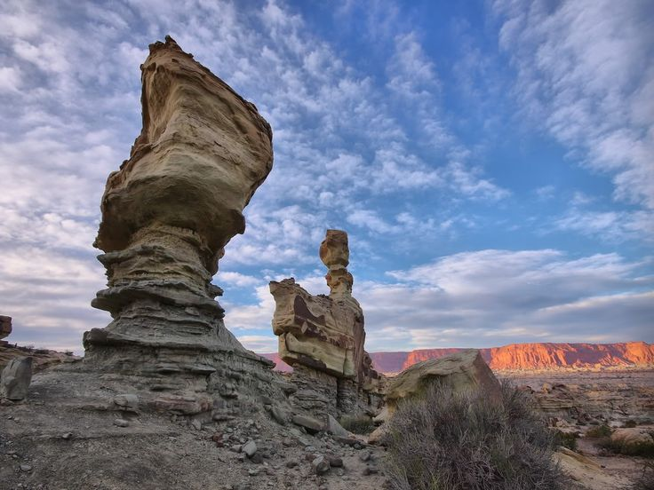 """Ischigualasto Provincial Park-Argentina.Also known commonly as Valle de la Luna (Valley of the Moon), the Ischigualasto Provincial Park can be found to the north-east of San Juan Province and was established in 1971. Covering a total area of 233 square miles, this park became a UNESCO World Heritage Site in 2000 and boasts with an incredible landscape that comprises a series of spectacular rock formations and cliffs. Highlights include the """"Sphynx"""" and the """"Mushroom"""" rock formations"""