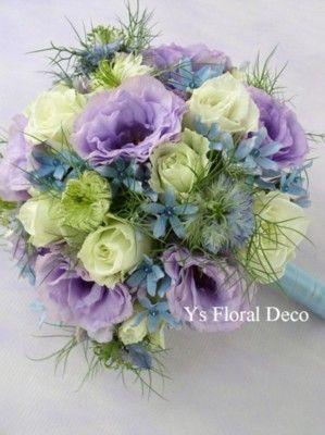 紫と青と白のラウンドブーケ ys floral deco @帝国ホテル