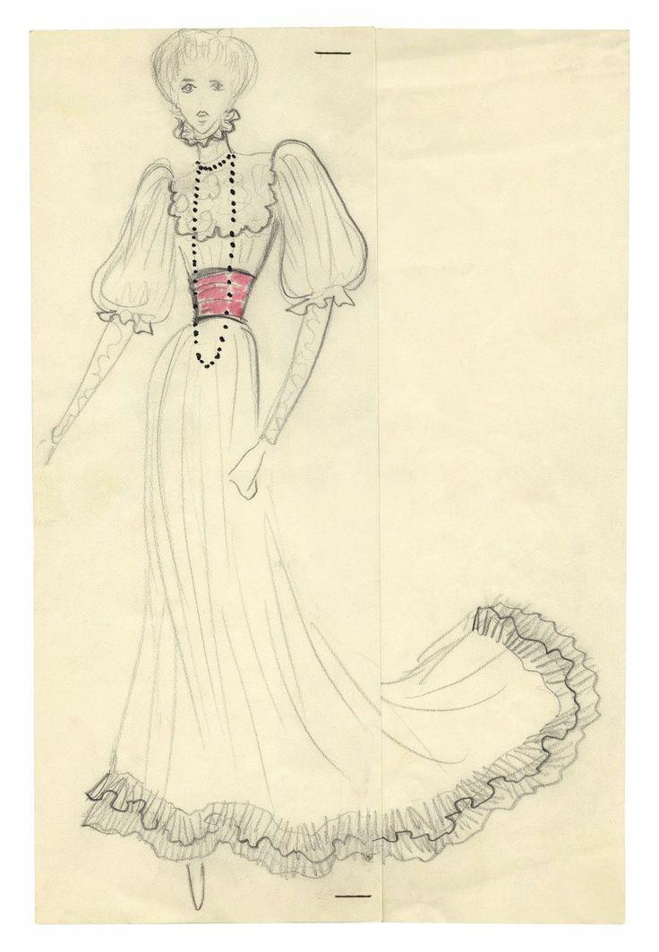 1971 - YSL sketch - dress for Jane Birkin (front) for the Bal Proust @ FondationBergeYSL