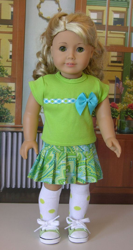 Gorgeous in Green outfit for American Girl or 18 inch doll with knee highs and converse