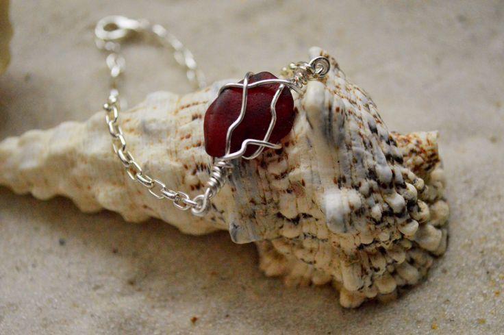 Red Sea Glass Bracelet, Nautical Jewelry for Beach Wedding, Bohemian Birthday gift for Girlfriend, Bestie, Cousin, Mermaid, Sis, friends
